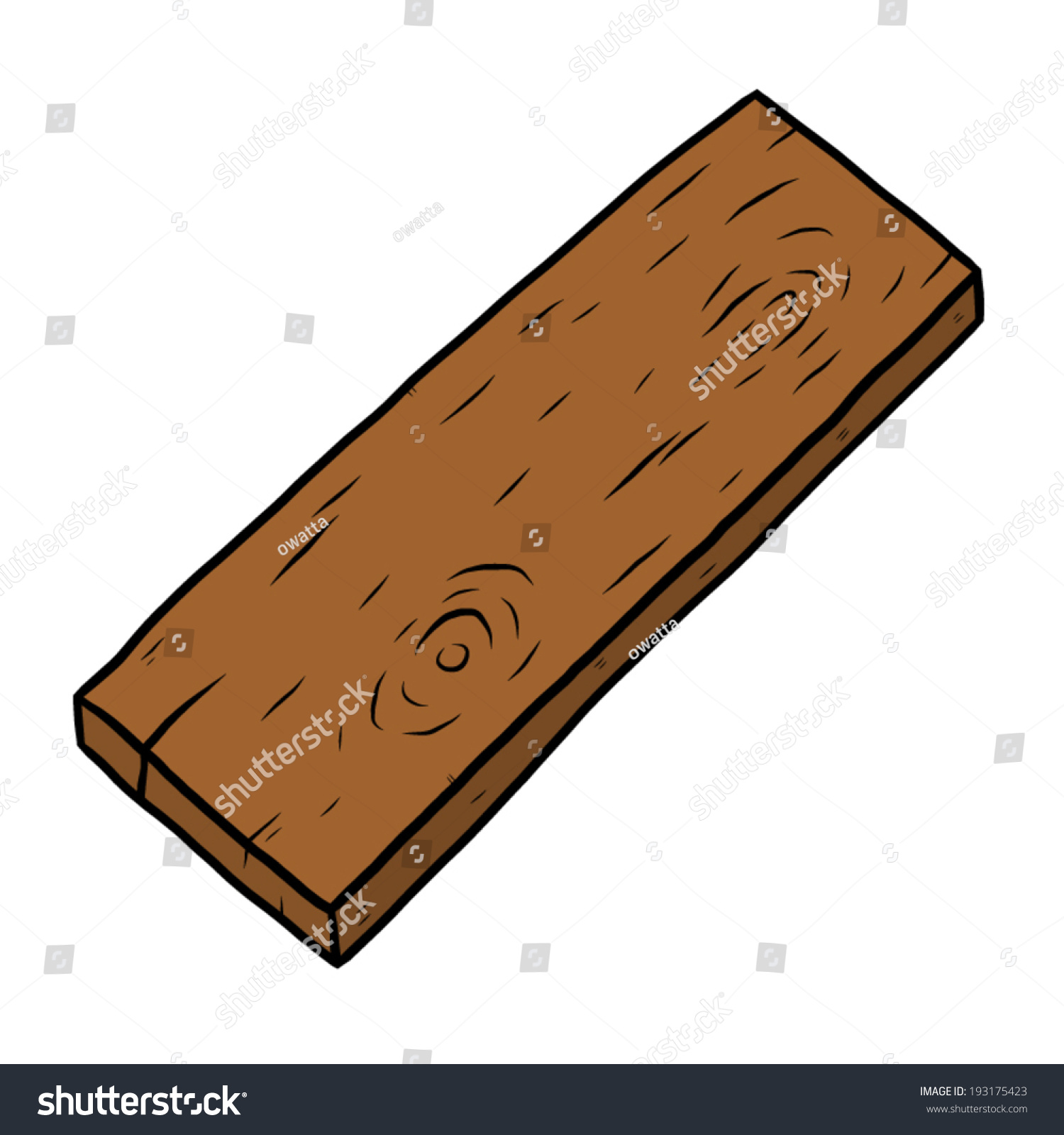 Wood Plank Drawing ~ Wooden plank cartoon vector illustration hand stock