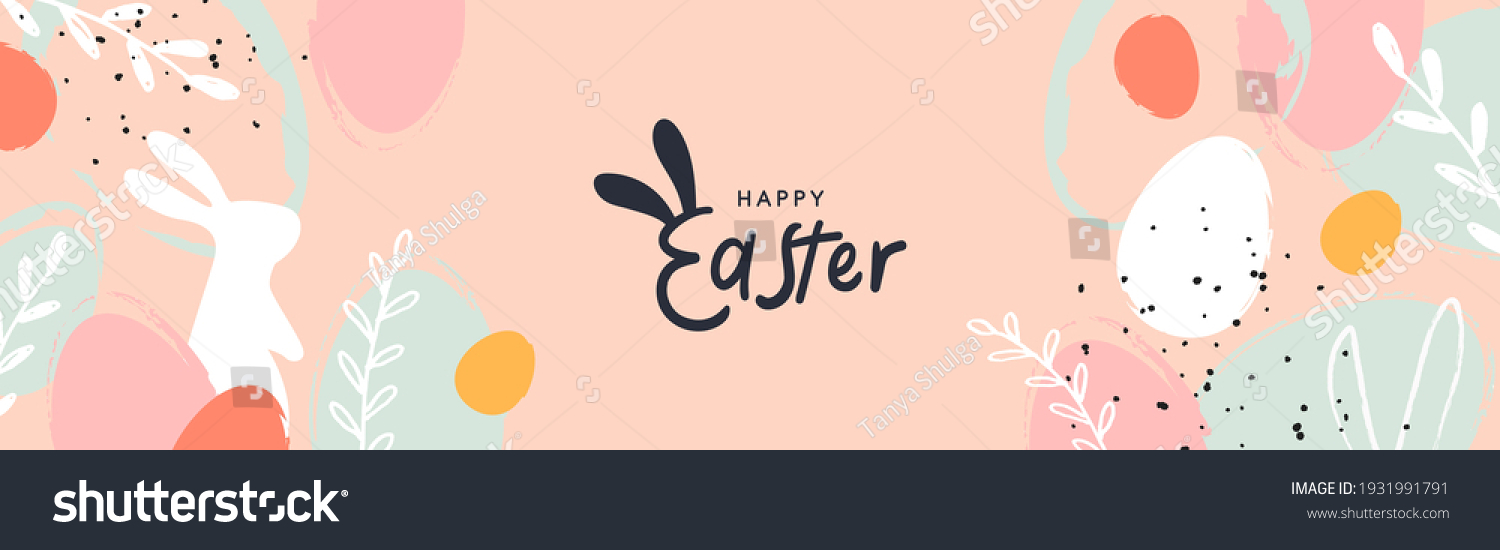 Happy Easter banner. Trendy Easter design with typography, hand painted strokes and dots, eggs and bunny in pastel colors. Modern minimal style. Horizontal poster, greeting card, header for website #1931991791