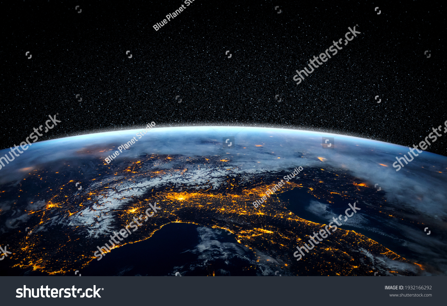 Planet earth globe view from space showing realistic earth surface and world map as in outer space point of view . Elements of this image furnished by NASA planet earth from space photos. #1932166292