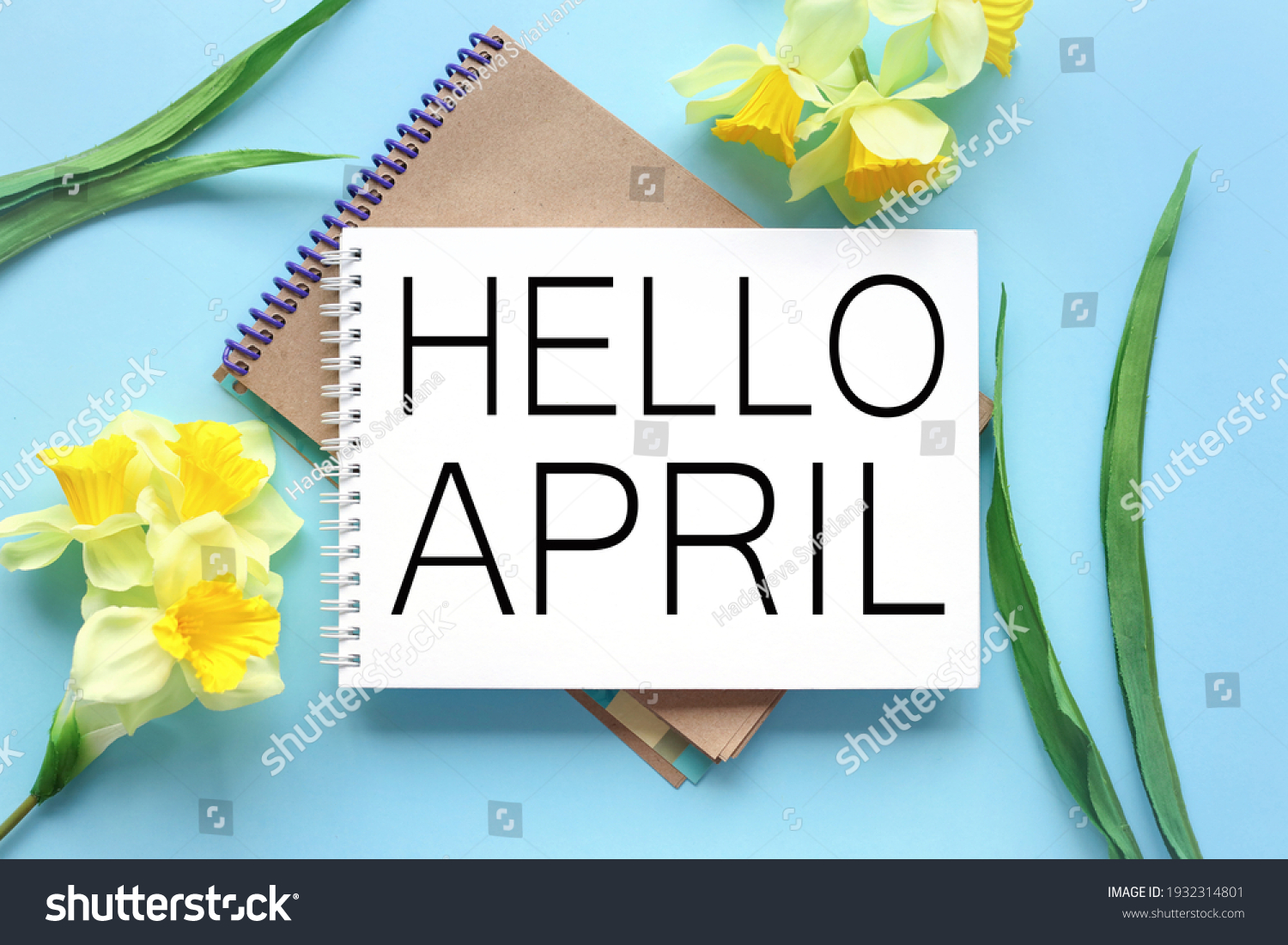 Hello April . text on white notepad paper on blue background. near notepad with yellow flowers and green leaves #1932314801