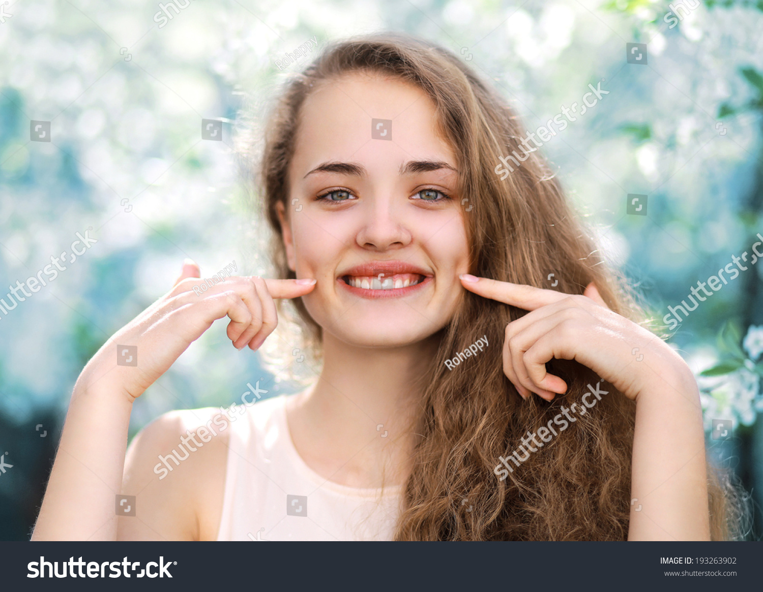 Young charming funny girl cute smiling with dimpled in warm spring day fun positive concept - Charming teenage girls image ...