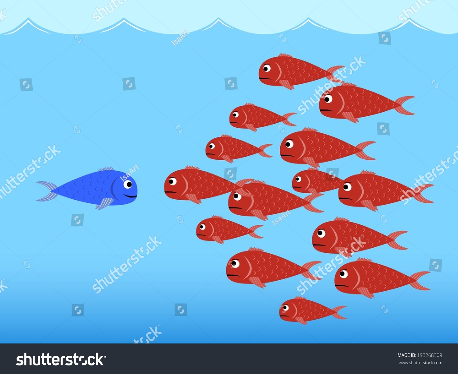 Illustration Vector Competition Between Red Fishes Stock Vector HD ...