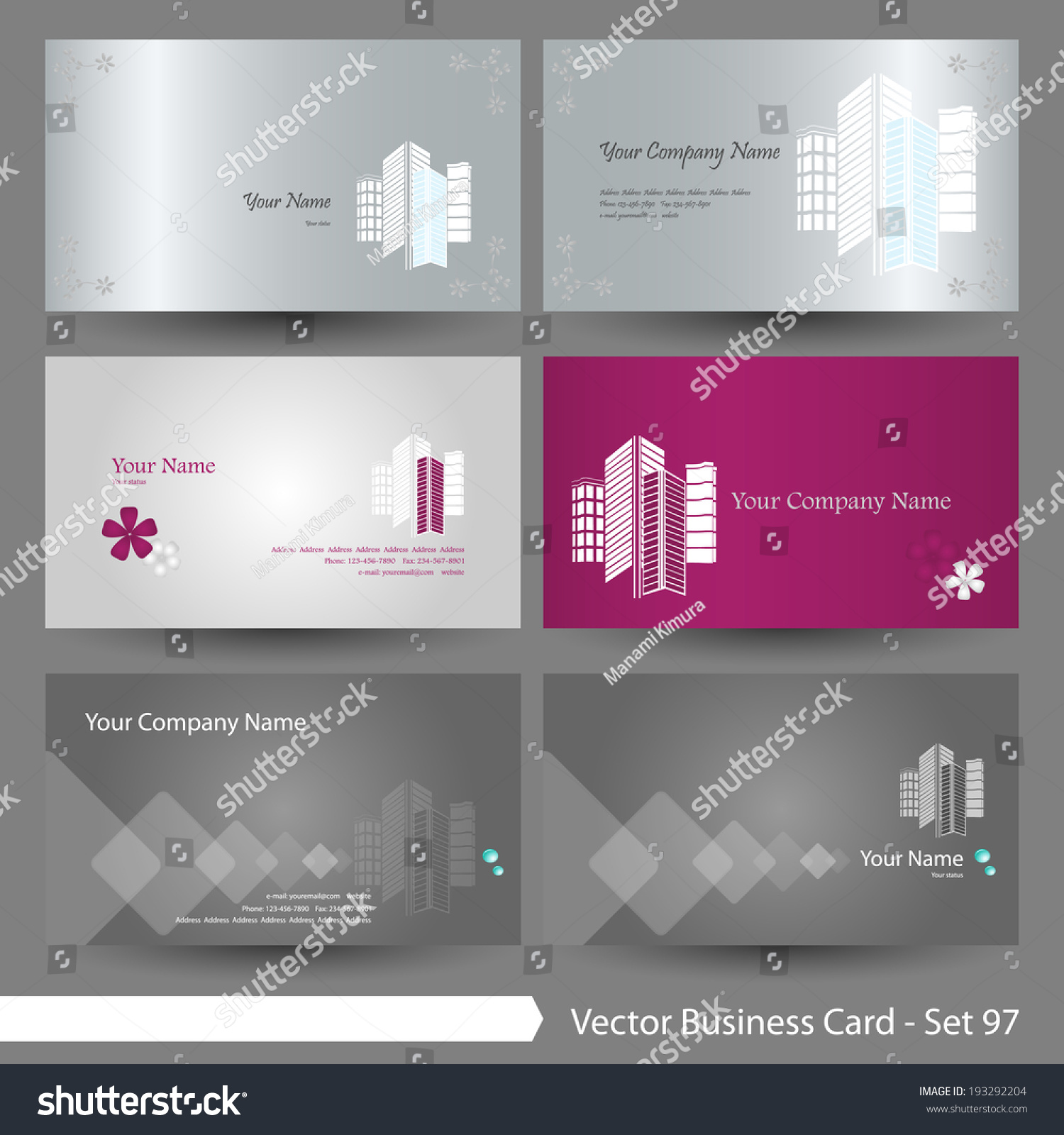 Vector Business Card Template Set Real Stock Photo (Photo, Vector ...