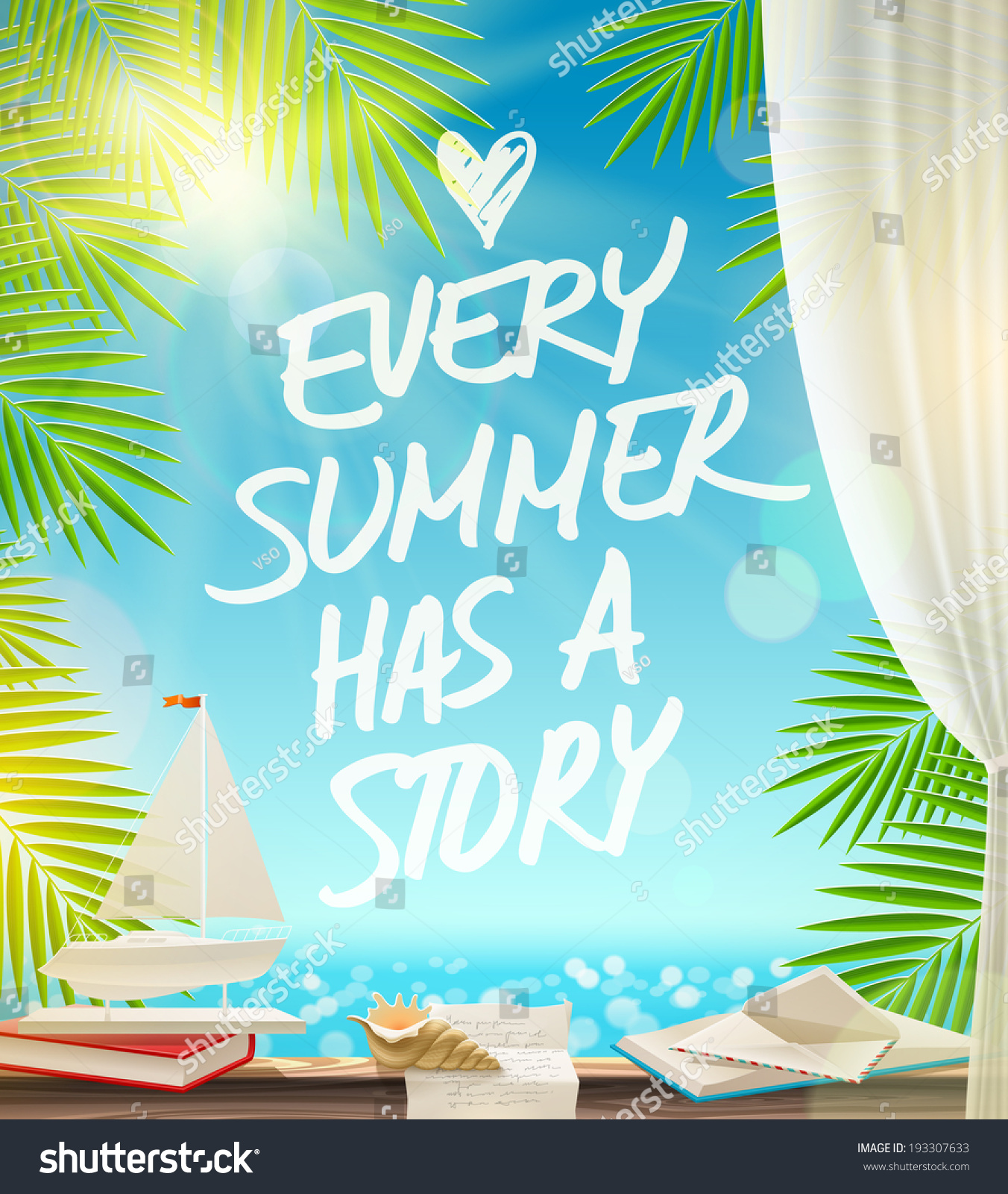 Charming Every Summer Has Story Summer Vacation Stock Vector 193307633   Shutterstock Awesome Design
