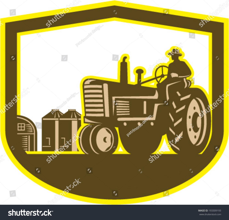 Illlustration Farmer Worker Driving Vintage Tractor Stock