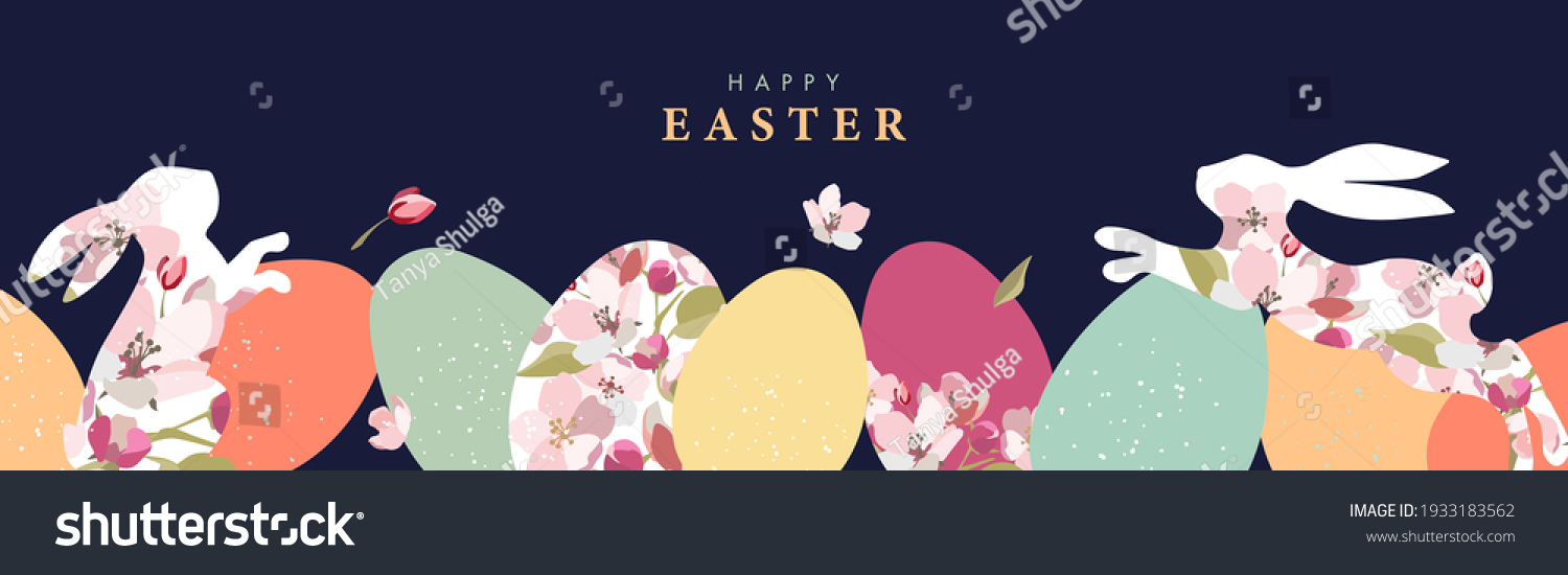 Happy Easter banner. Trendy Easter design with border made of eggs, bunnies and spring flowers in pastel colors on dark blue. Modern flat style. Horizontal poster, greeting card, header for website #1933183562