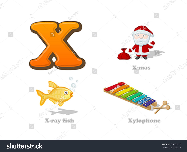 Abc Letter X Funny Kid Icons Set X Mas Santa X Ray Fish