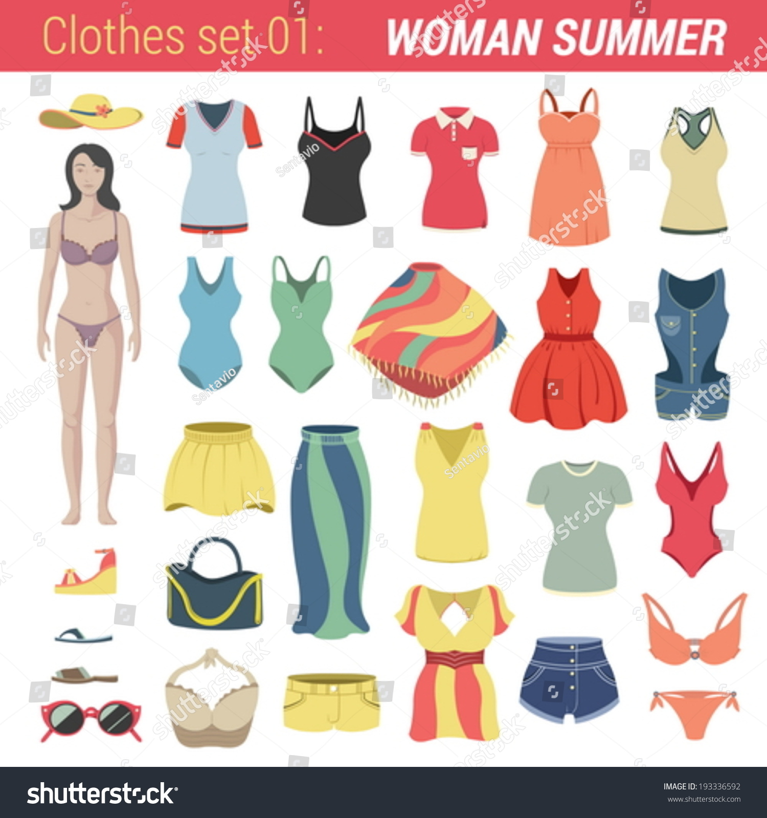 Woman Summer Clothing Vector Icon Set Stock Vector 193336592 ...