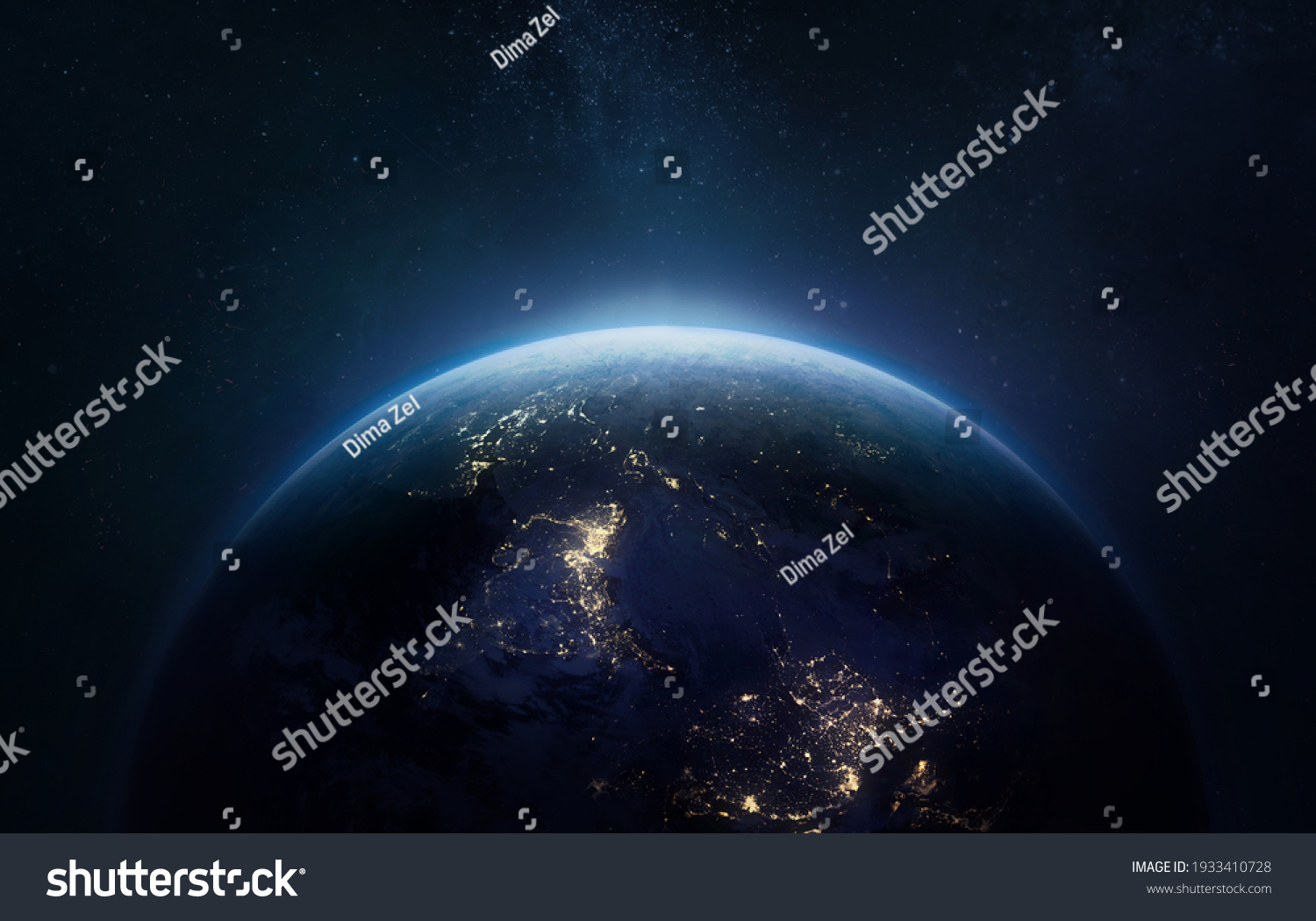 Nightly Earth planet in outer space. City lights on planet. Life of people. Solar system element. Elements of this image furnished by NASA #1933410728