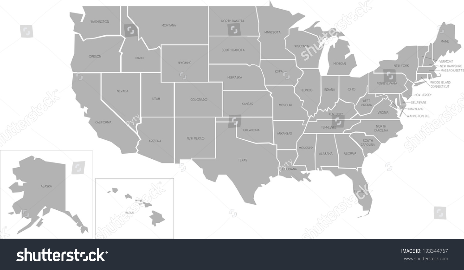 Simplified Vector Map United States America Stock Vector - United states map arkansas