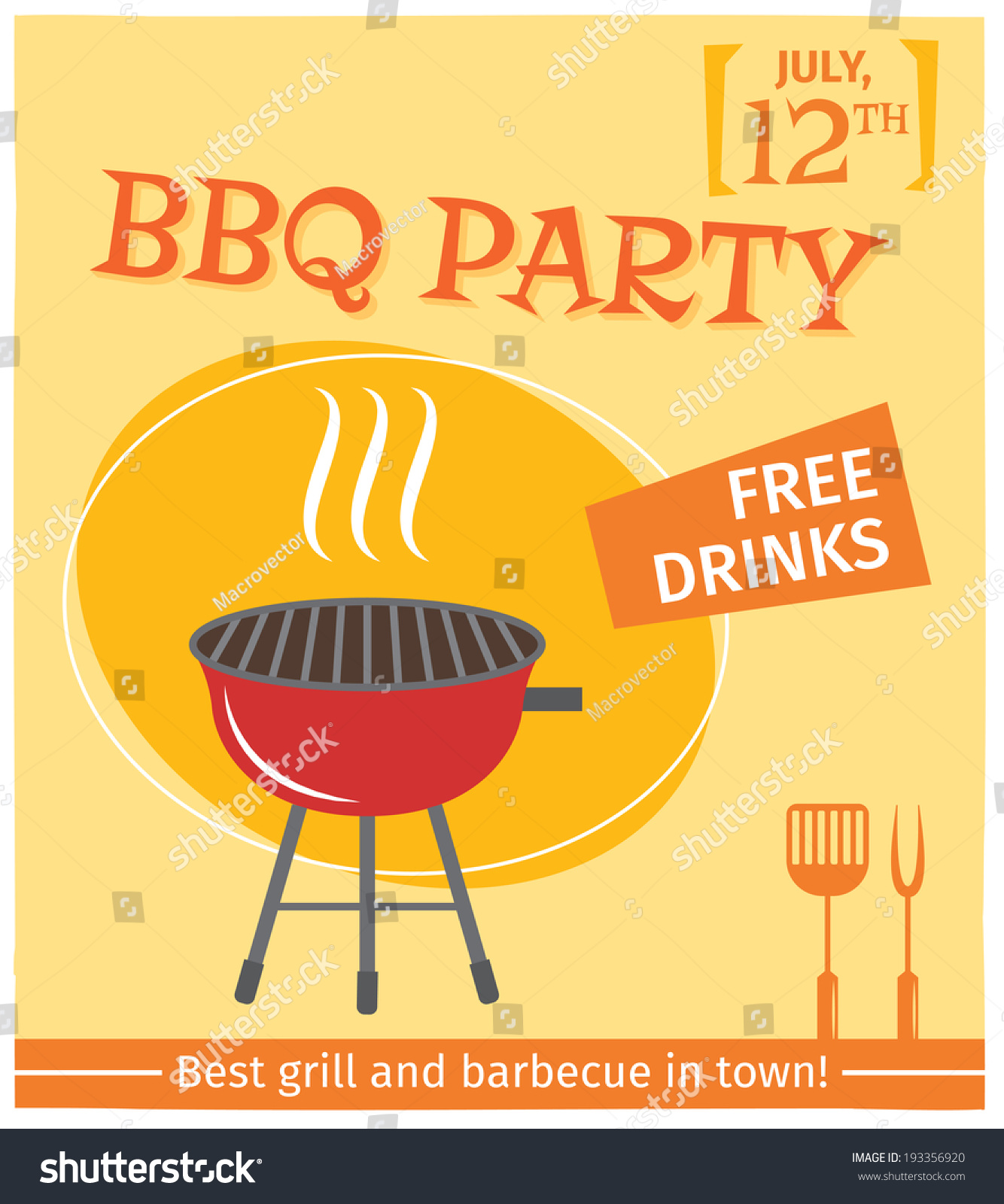 bbq grill party best town flyer のベクター画像素材 ロイヤリティ