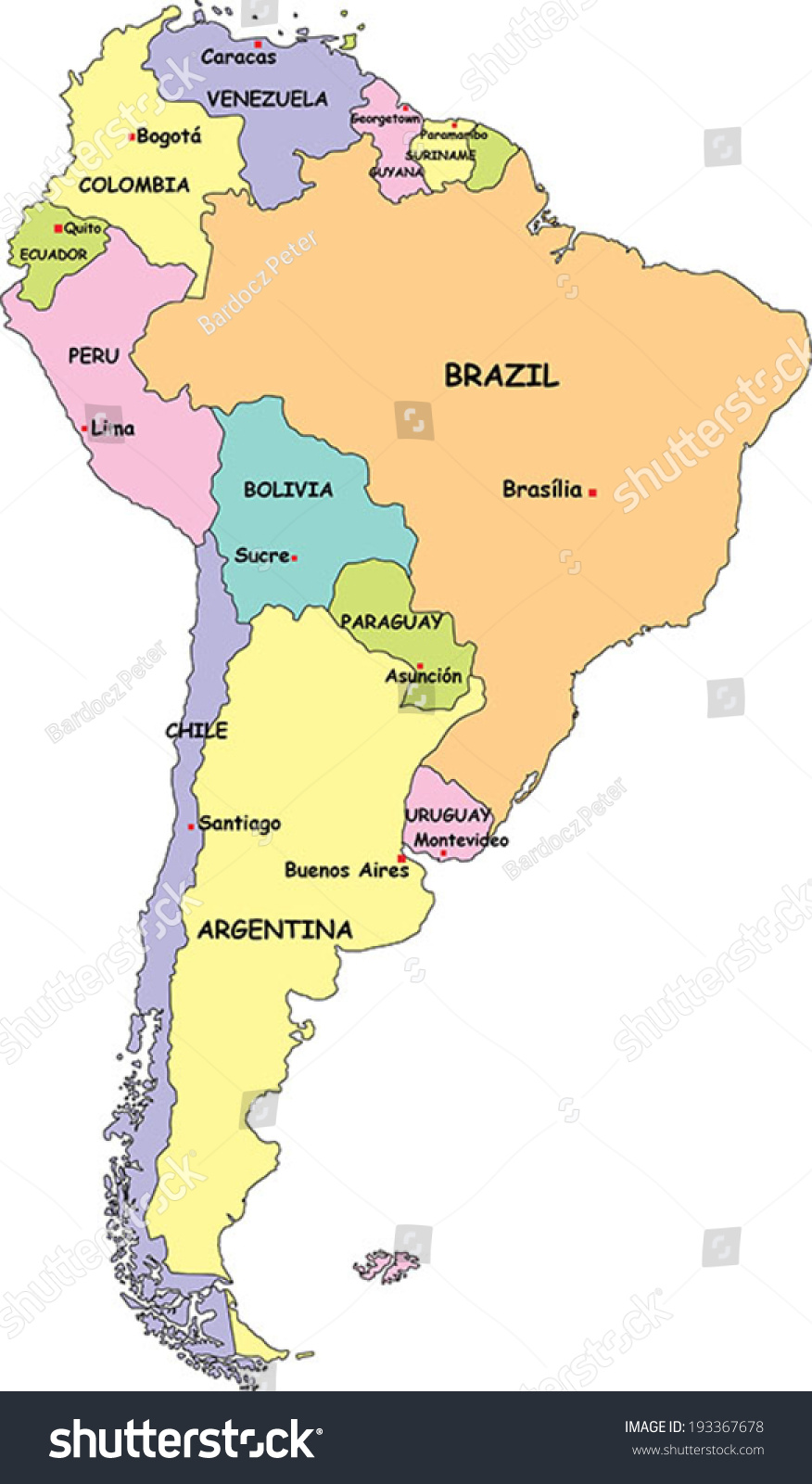 Highly Detailed South America Political Map Stock Vector (Royalty ...