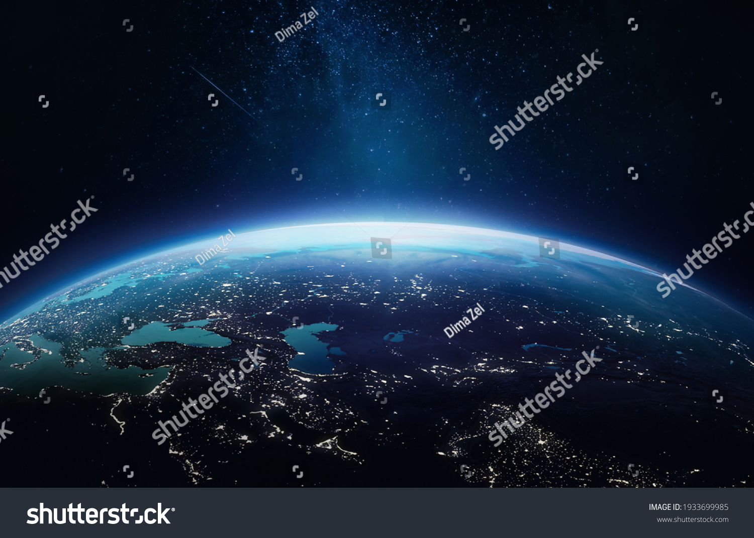 Surface of Earth planet in deep space. Outer dark space wallpaper. Night on planet with cities lights. View from orbit. Elements of this image furnished by NASA #1933699985