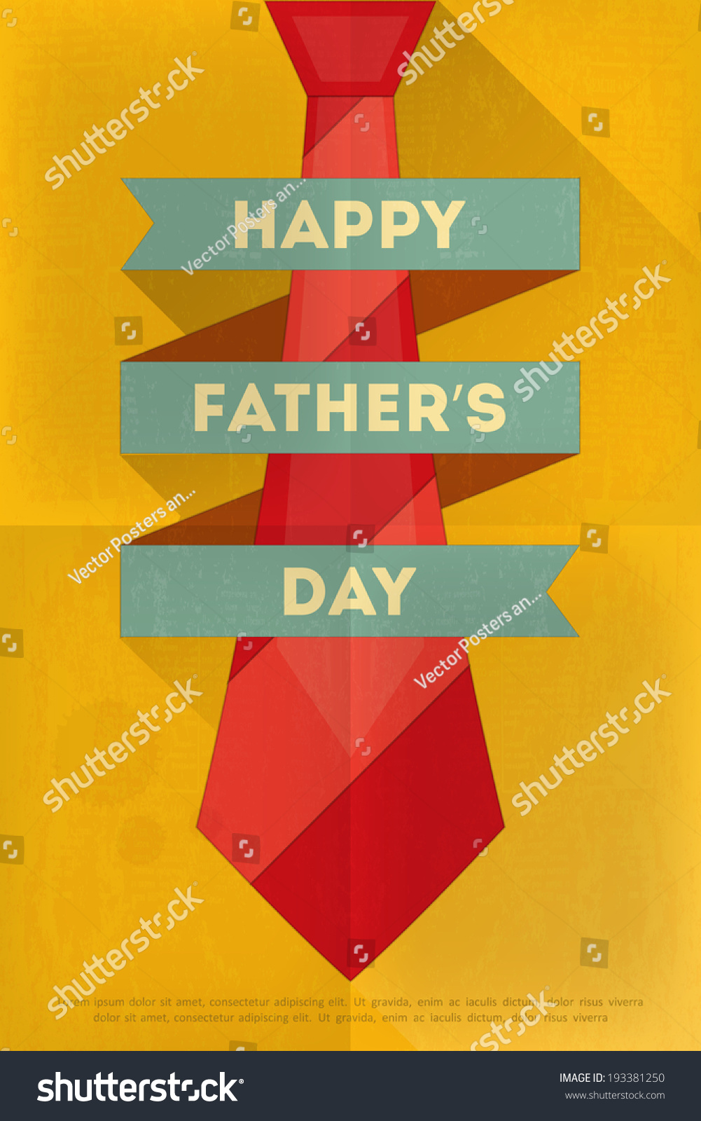 Fathers Day Poster Big Tie Flat Stock Vector 193381250 - Shutterstock