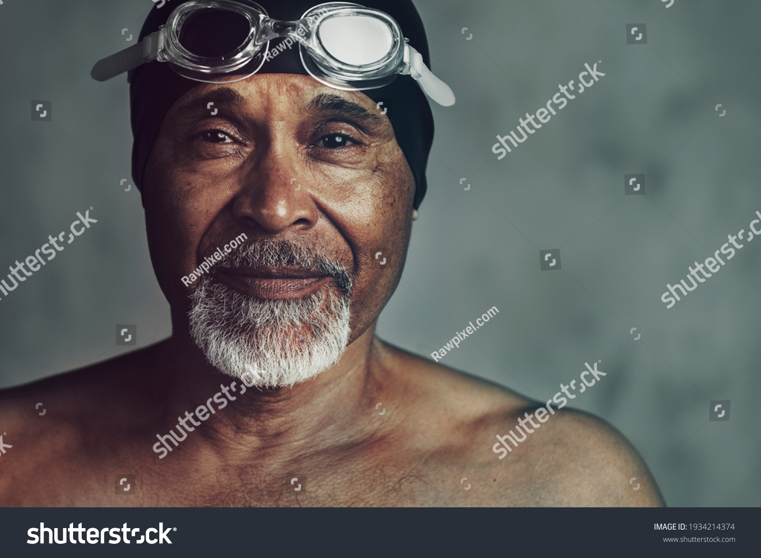 Senior African American swimmer, active at old age #1934214374