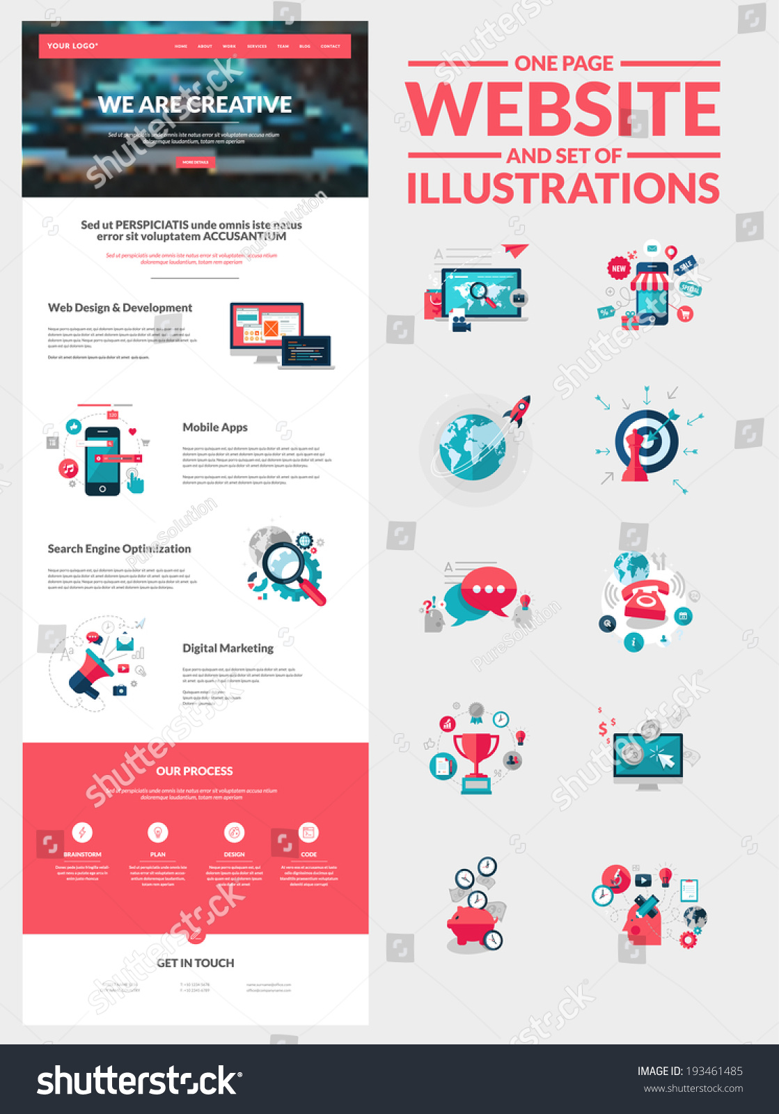 Vector Illustration Web Designs: One Page Website Design Template. All In One Set For