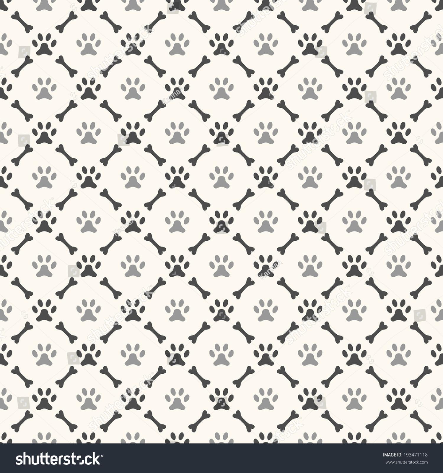 Seamless Animal Pattern Paw Footprint Bone Stock Vector