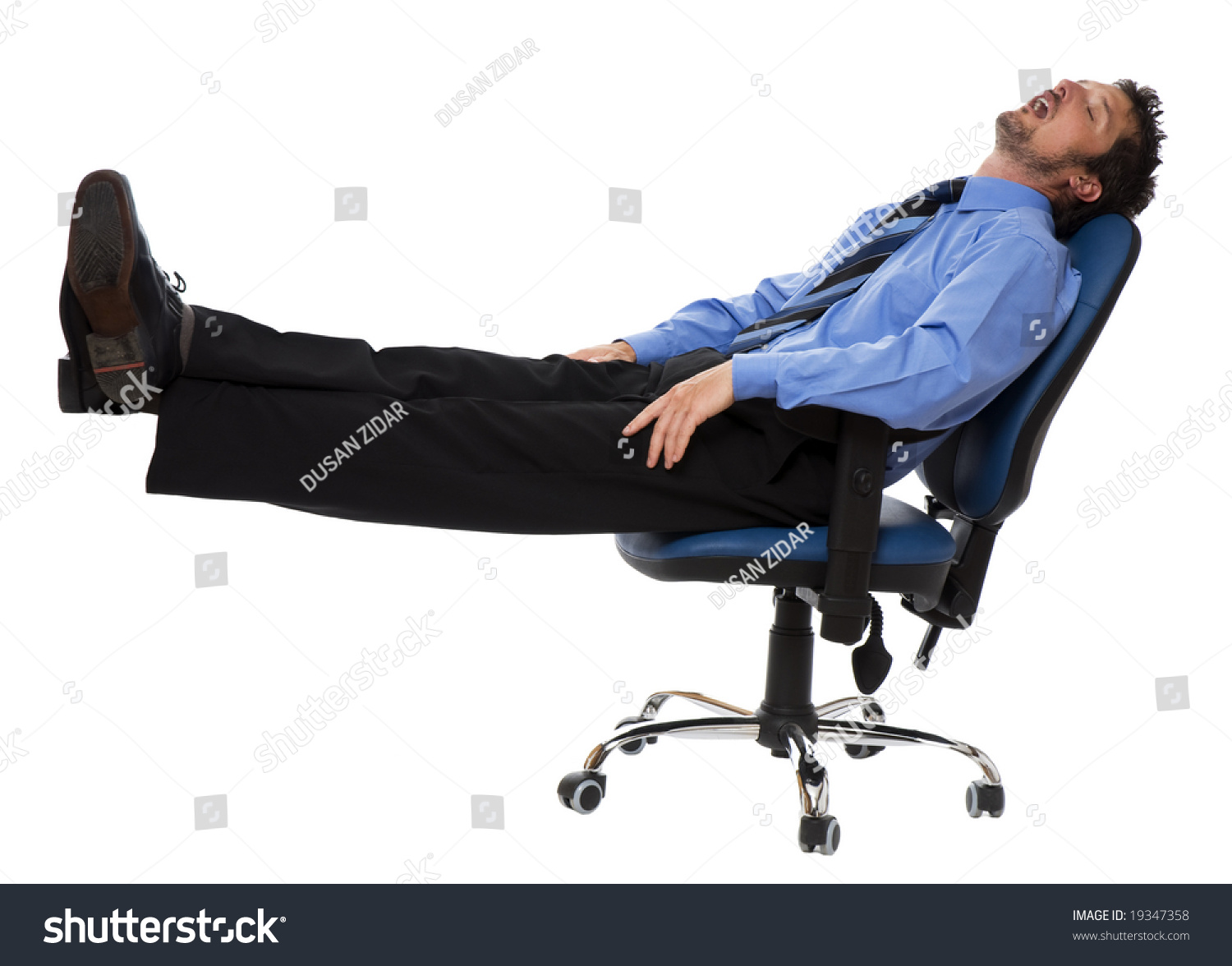 Young Business Men Sleeping Chair Isolated Stock Photo