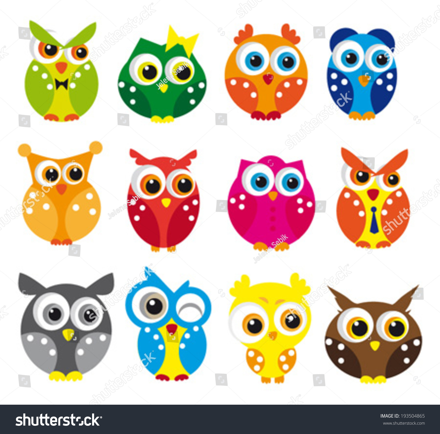 cute vector collection owls stock vector 193504865 shutterstock