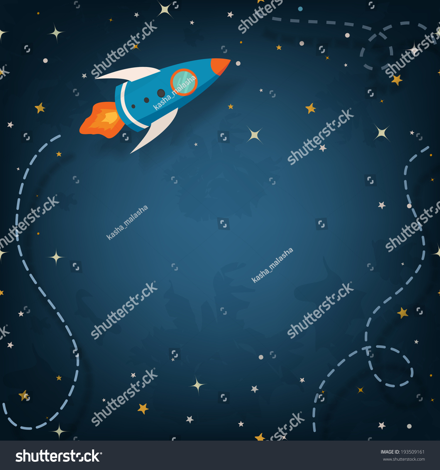 spaceship illustration space your text cartoon stock vector
