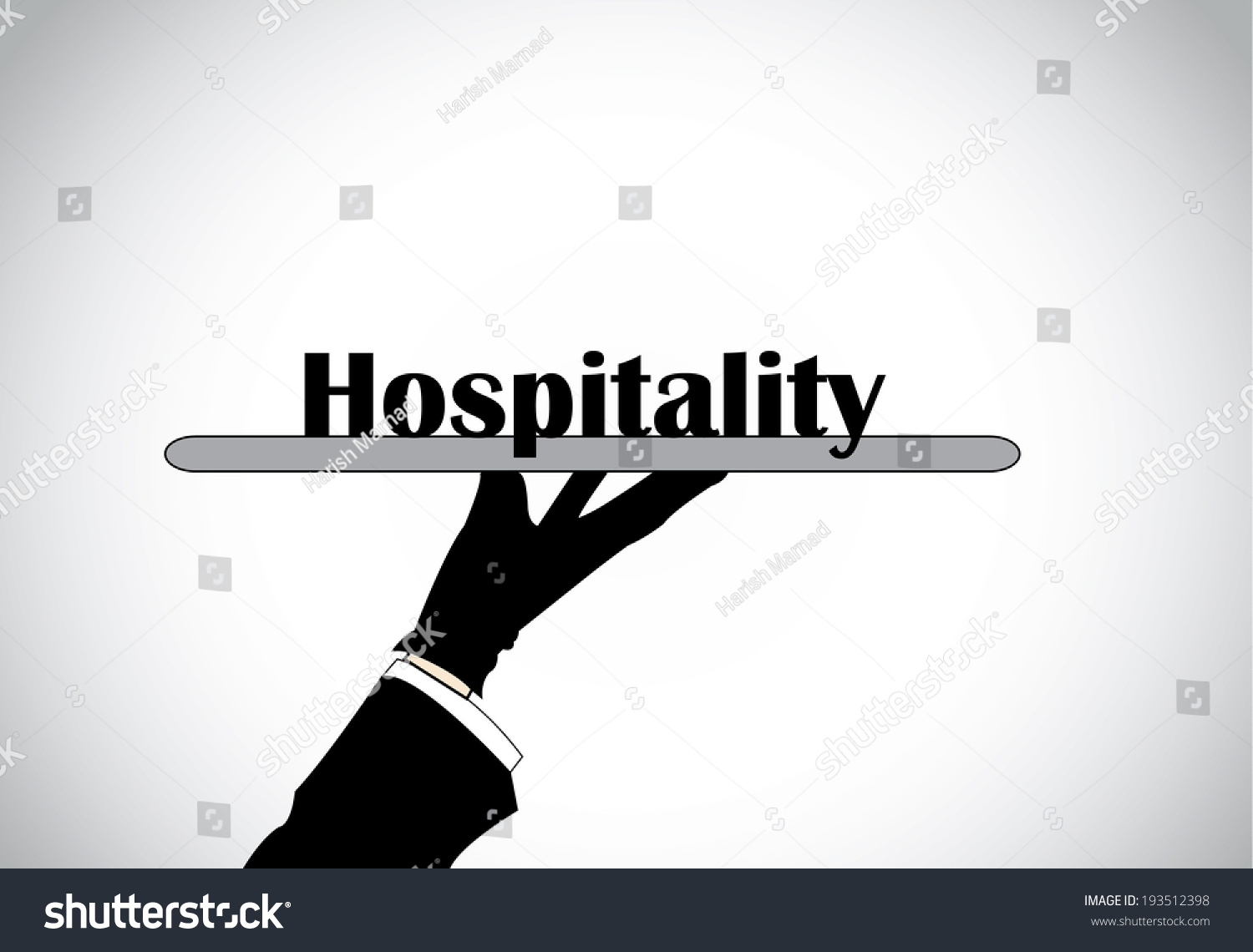 professional hand silhouette presenting hospitality text stock