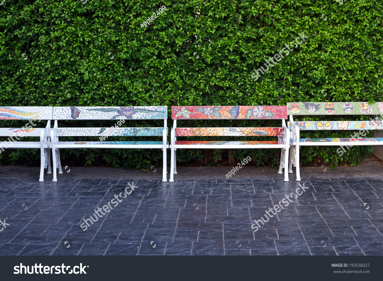 Pleasant Bench Covered Ceramic Tile Bench Park Stock Photo Edit Now Spiritservingveterans Wood Chair Design Ideas Spiritservingveteransorg