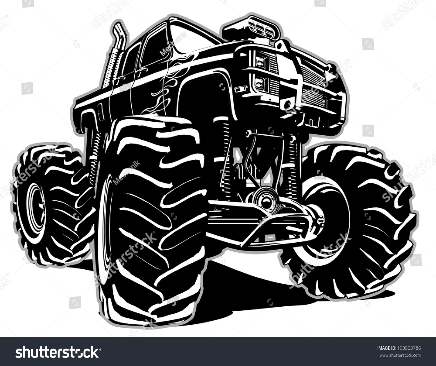 cartoon monster truck eps8 separated by stock vector 193553786