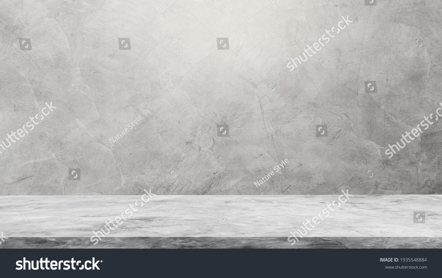 Empty Gray Wall Room interiors Studio Concrete Backdrop and Floor cement Shelf, well editing montage display products and text present on free space Background  #1935548884