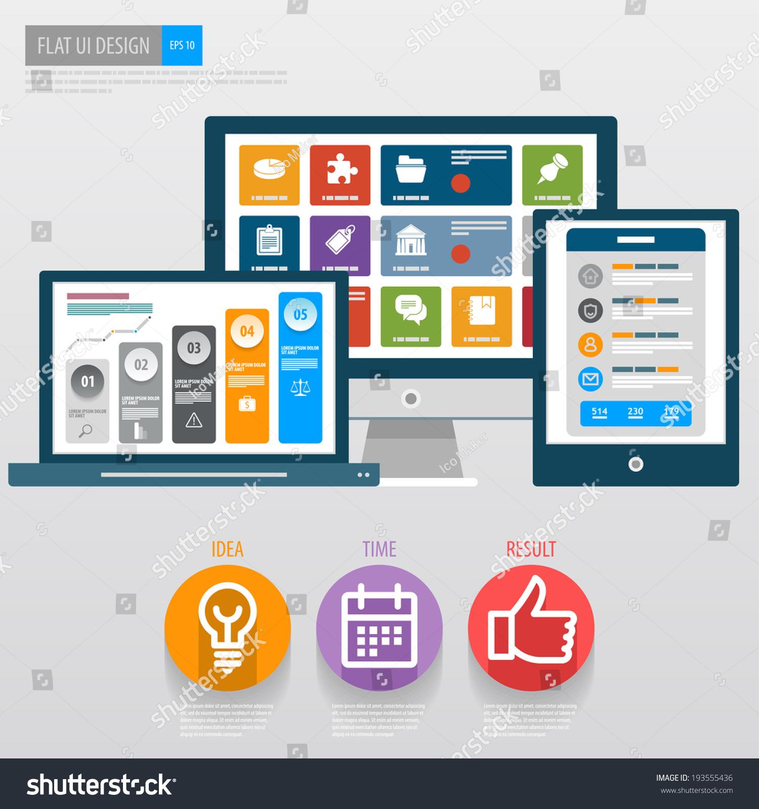 flat ui design responsive web template icons for web design seo social media vector eps 10. Black Bedroom Furniture Sets. Home Design Ideas