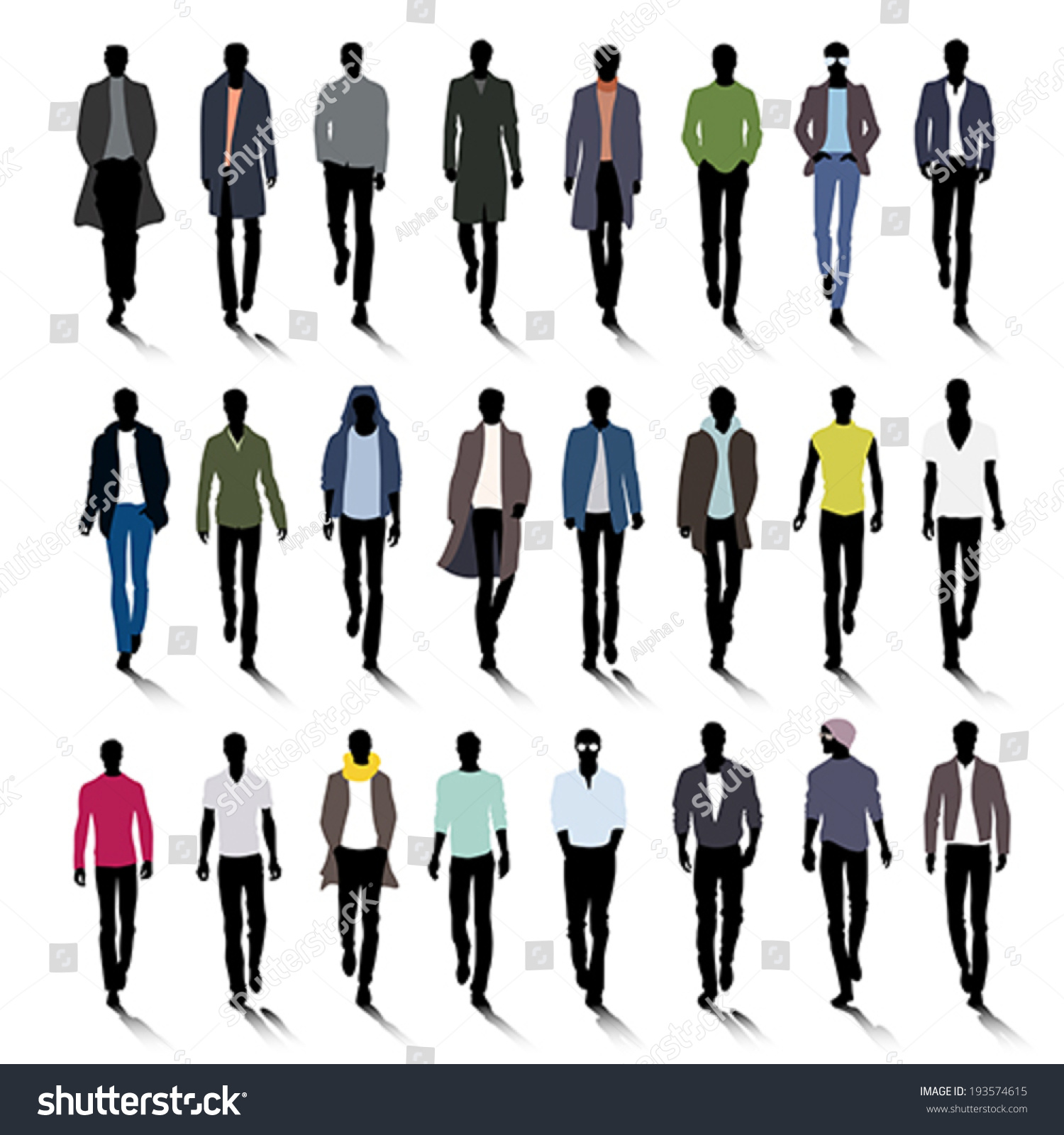 5f61a366fac Set of male fashion silhouettes on runway jpg 1500x1600 Mens fashion  silhouette