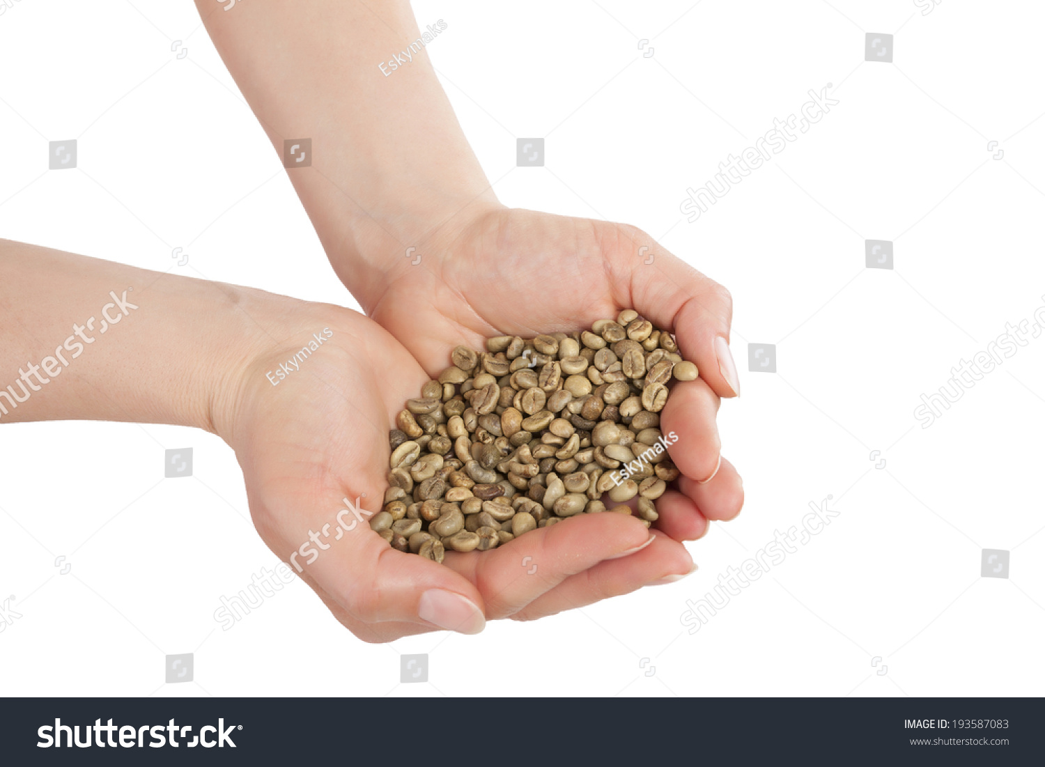 Handful Of Green Coffee Beans In Female Hands Isolated On White Id 193587083