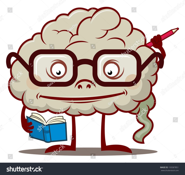 Fanny Cartoon Smart Brain Glasses Reading Stock Vector 193587851 ... for Smart Cartoon Brain  579cpg