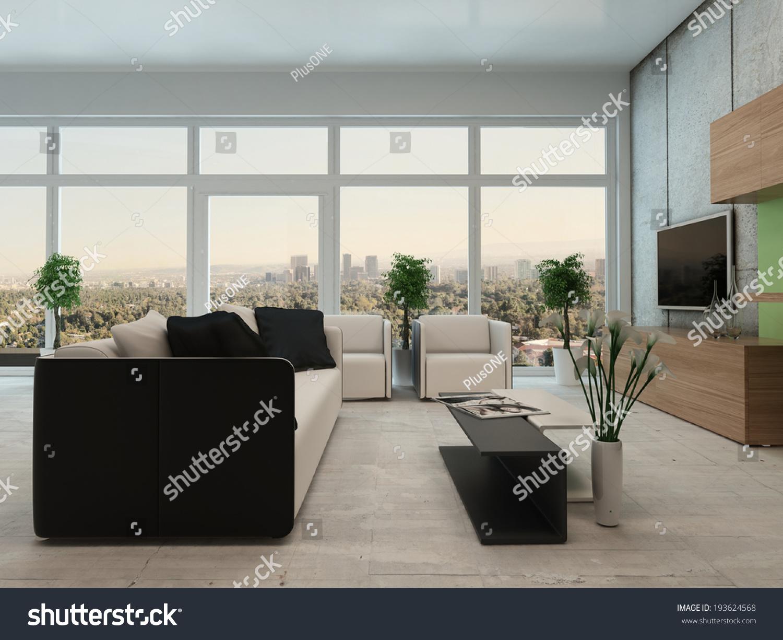 Modern Apartment Living Room Light Airy Modern Apartment Living Room Stock Illustration