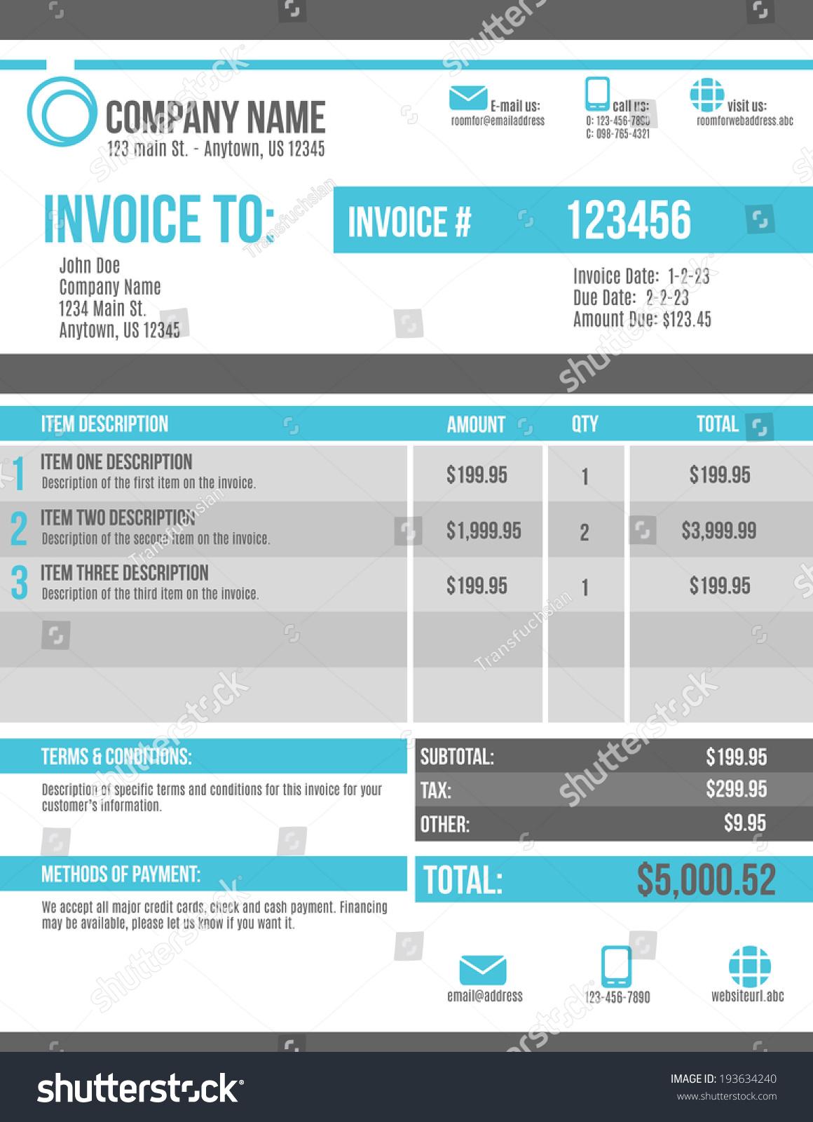 customizable invoice template design stock vector  customizable invoice template design
