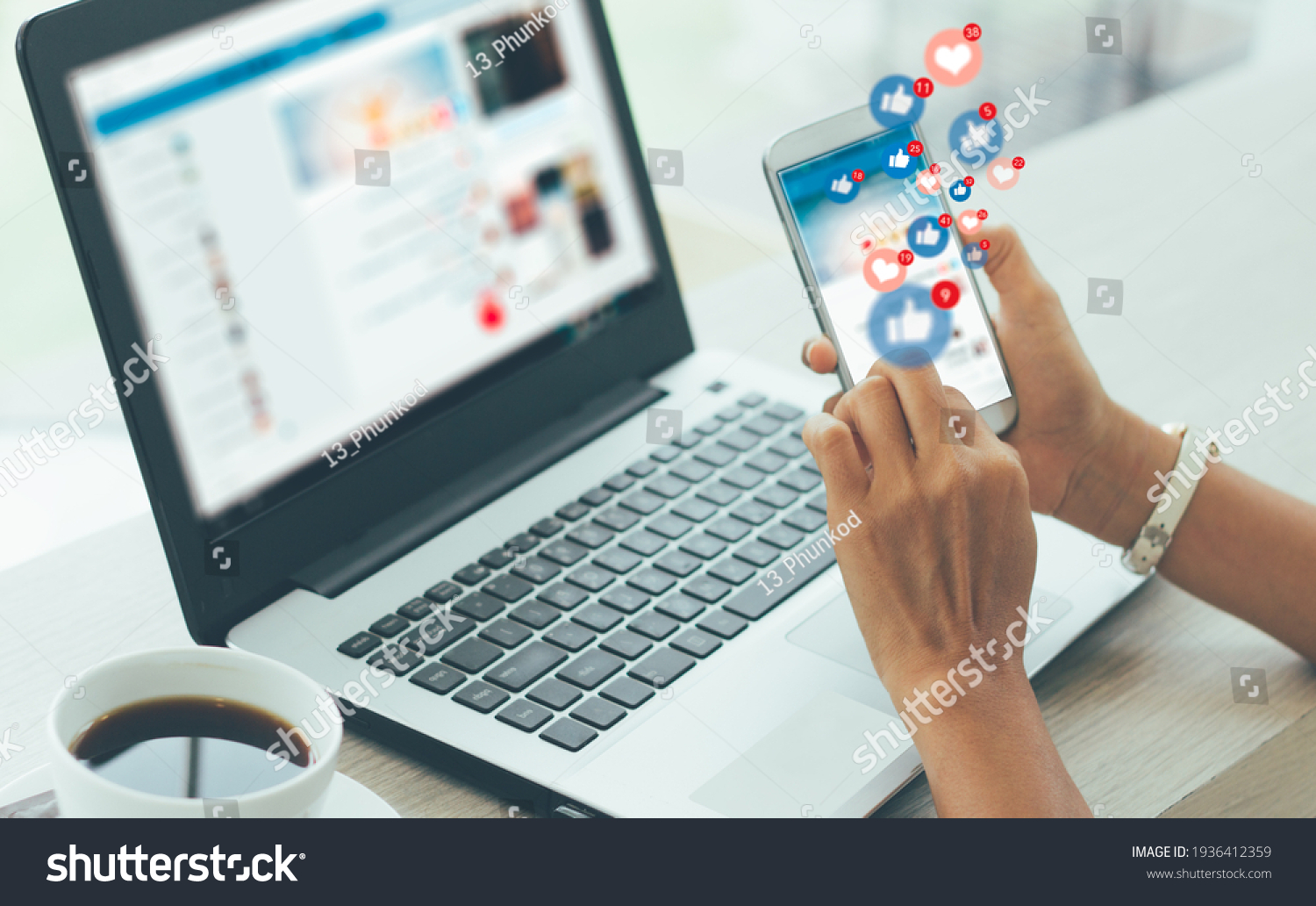 Young businesswoman using smart phone ,Social, media, Marketing concept #1936412359