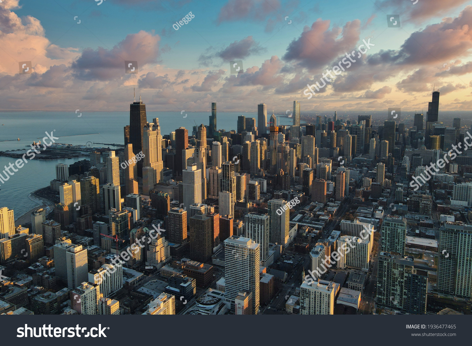 Chicago downtown aerial panorama view at sunset with skyscrapers and city skyline at Michigan lakefront with colorful cloud. #1936477465