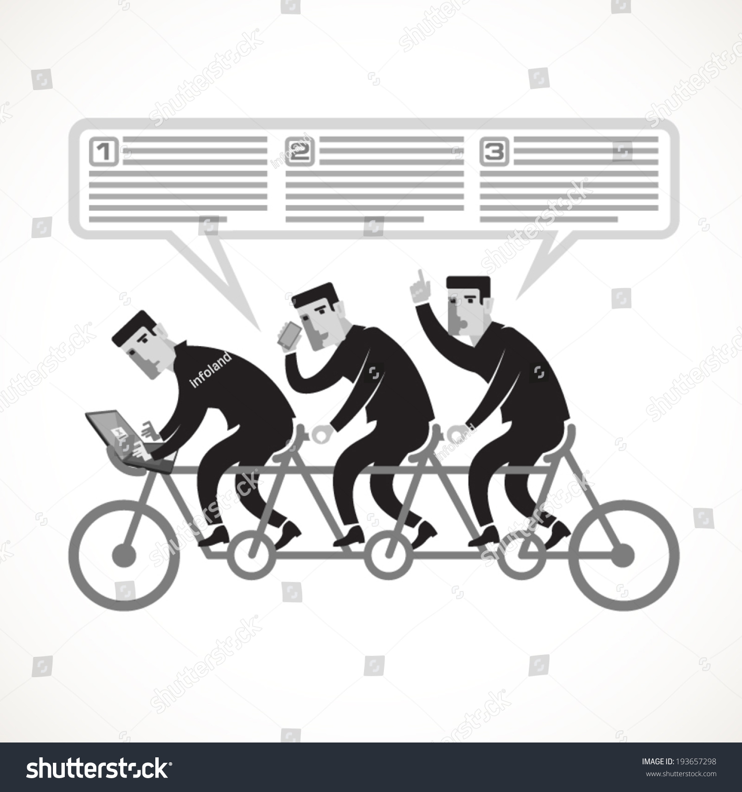 businessmen cycling on a tandem bike as an example of teamwork businessmen cycling on a tandem bike as an example of teamwork stock vector illustration 193657298 shutterstock