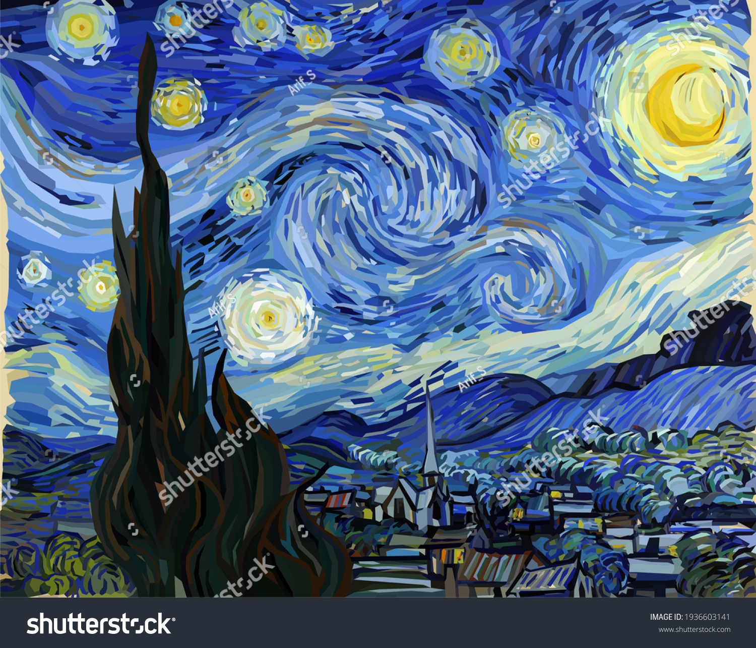 The Starry Night - Vincent van Gogh Wall Mural Traditional Painting Conceptual Polygonal Illustration