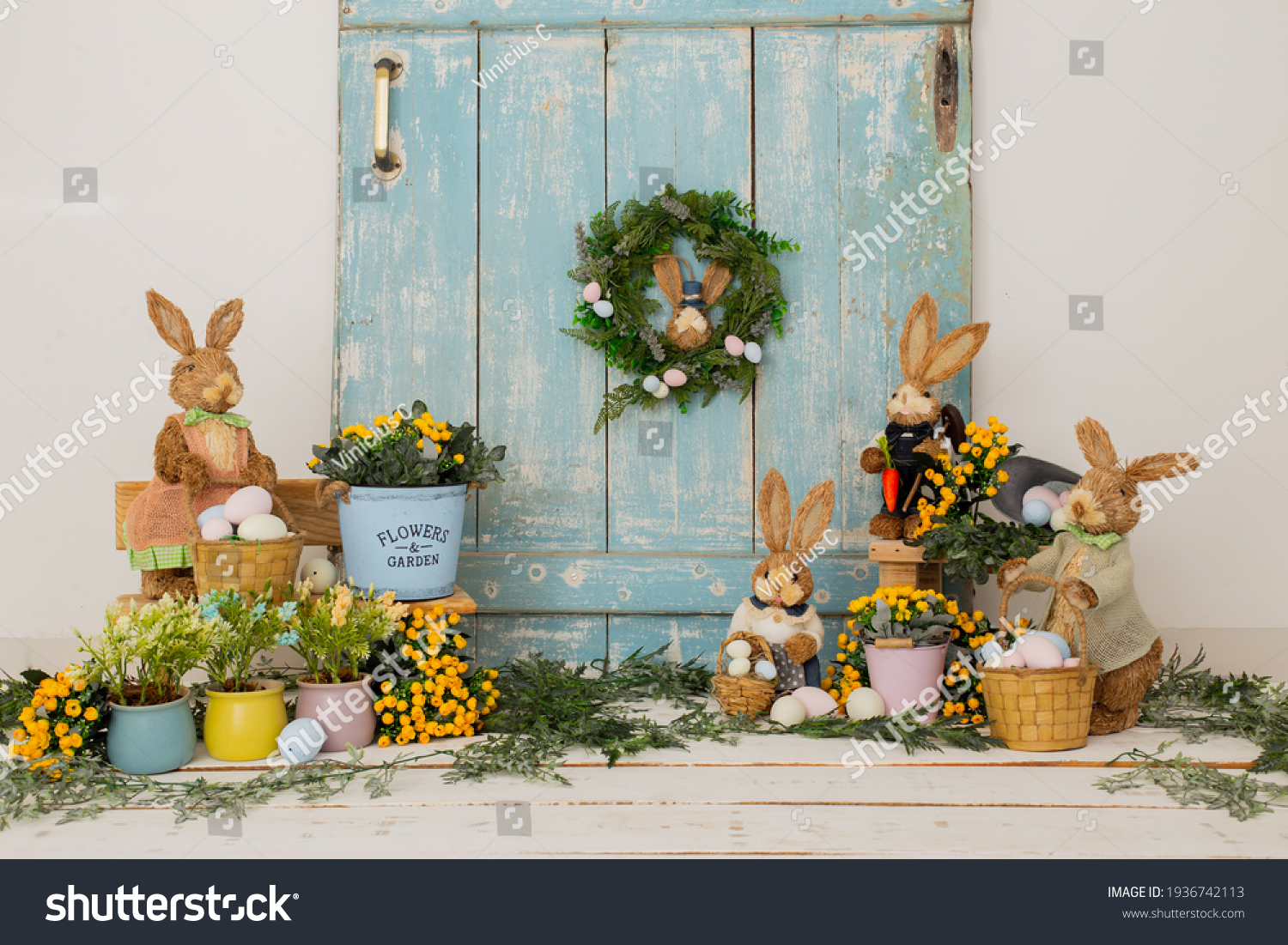 Easter backdrop or background for photo mini session in blue color. Contains straw rabbits and eggs basket. #1936742113