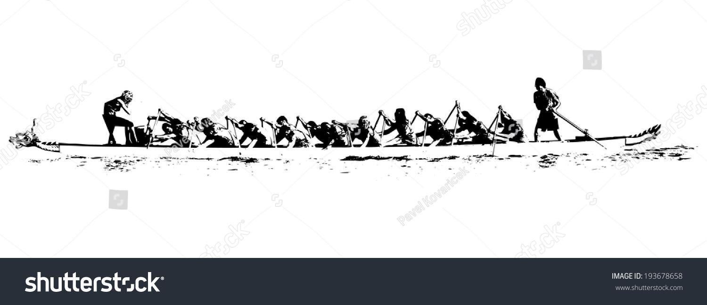 Illustration Dragon Boat Action Black White Stock Vector 193678658 ...
