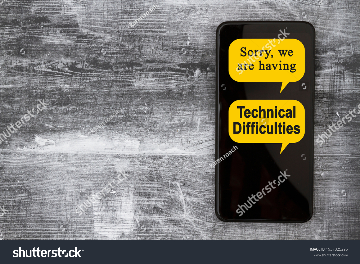 Sorry we are having Technical Difficulties message on a black mobile phone #1937025295