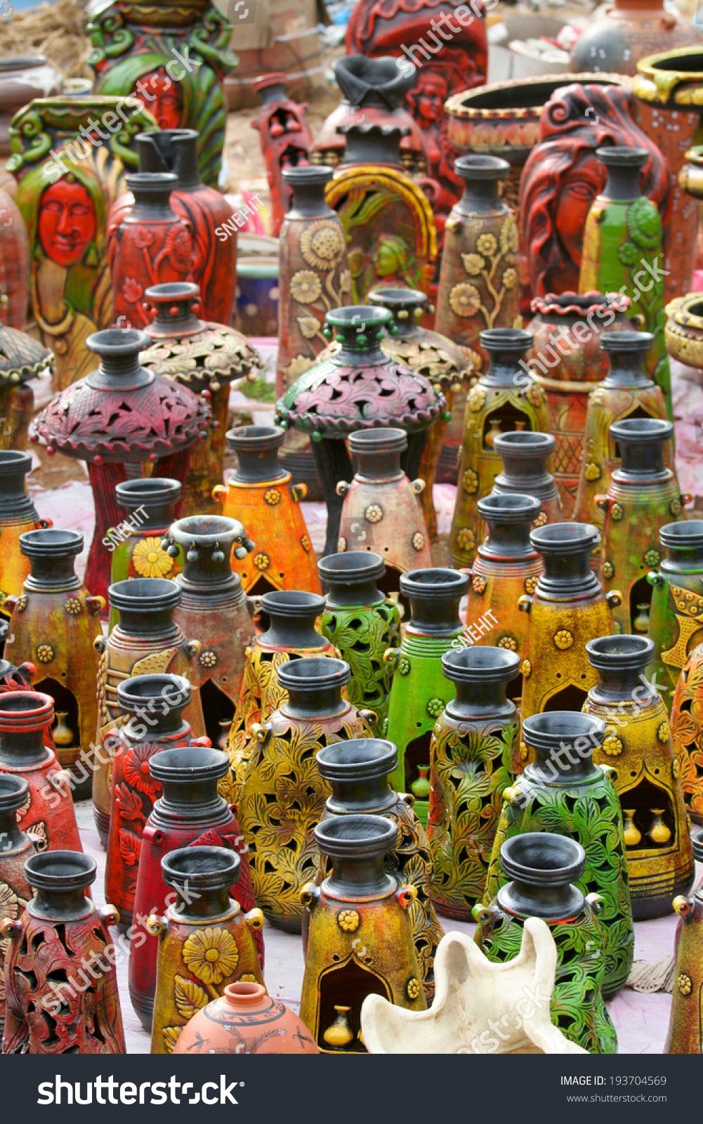 Colorful Pots Handicrafts India Stock Photo Edit Now 193704569