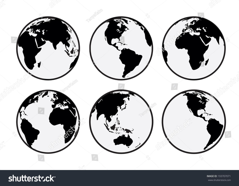 Six Black White Vector Earth Globes Stock Vector 193707071 ...