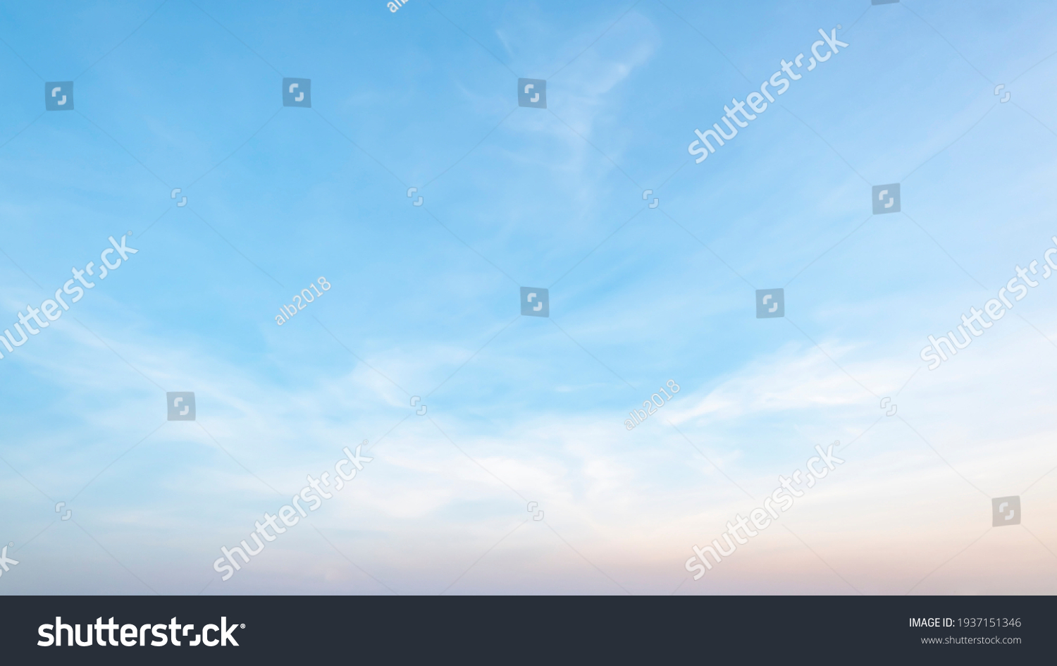 The sky has the light of the sun, the sky is blue, there are small and large clouds alternating and moving slowly, with the sunlight passing, creating a miraculous abstract shape, a hot day. #1937151346