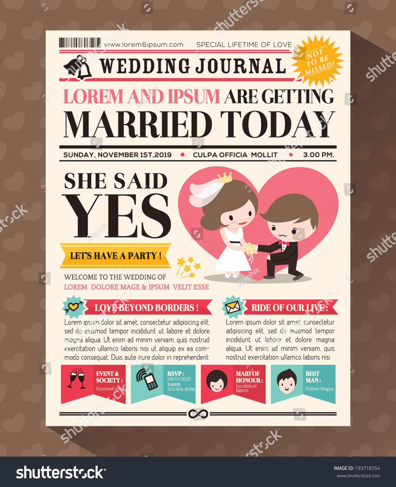 Cartoon Newspaper Journal Wedding Invitation Vector Stock 193718354