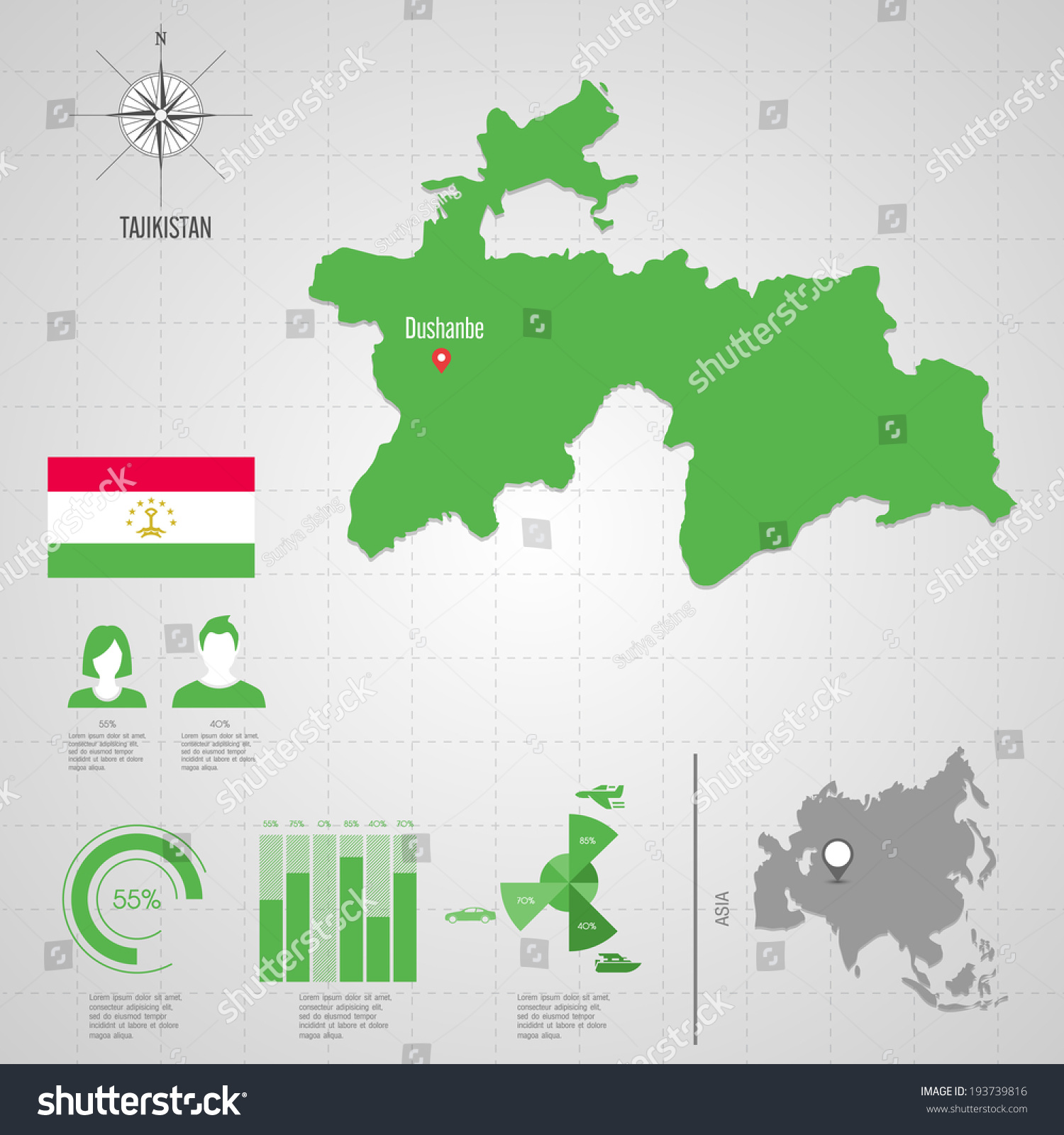 Republic Tajikistan Flag Asia World Map Stock Vector - Tajikistan map vector