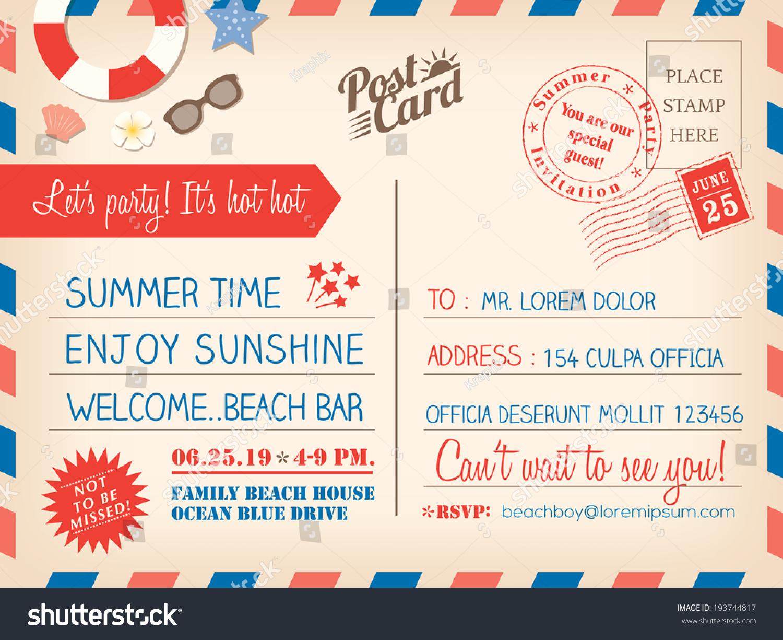 Vintage Summer Holiday Postcard Background Vector Stock ...