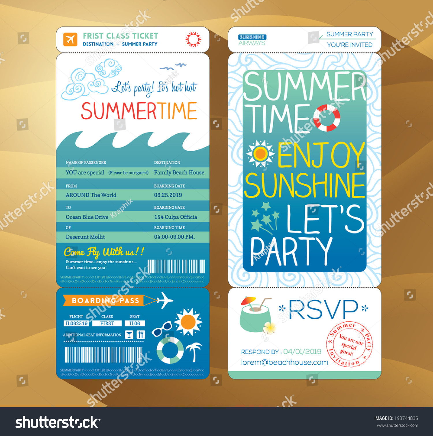 summertime holiday party boarding pass background stock vector summertime holiday party boarding pass background vector template for summer card