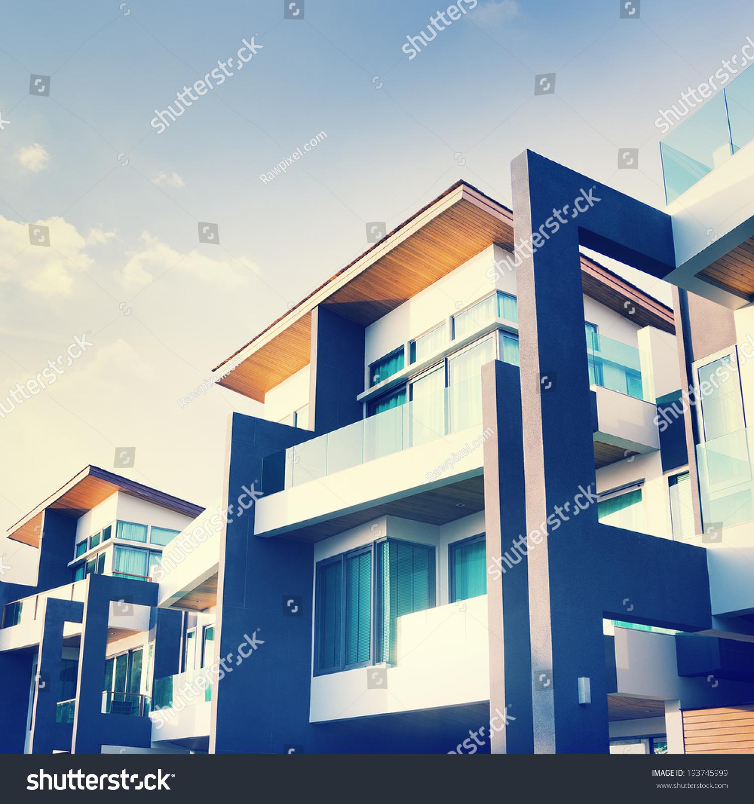 Contemporary residential building exterior daylight stock for Contemporary residential buildings