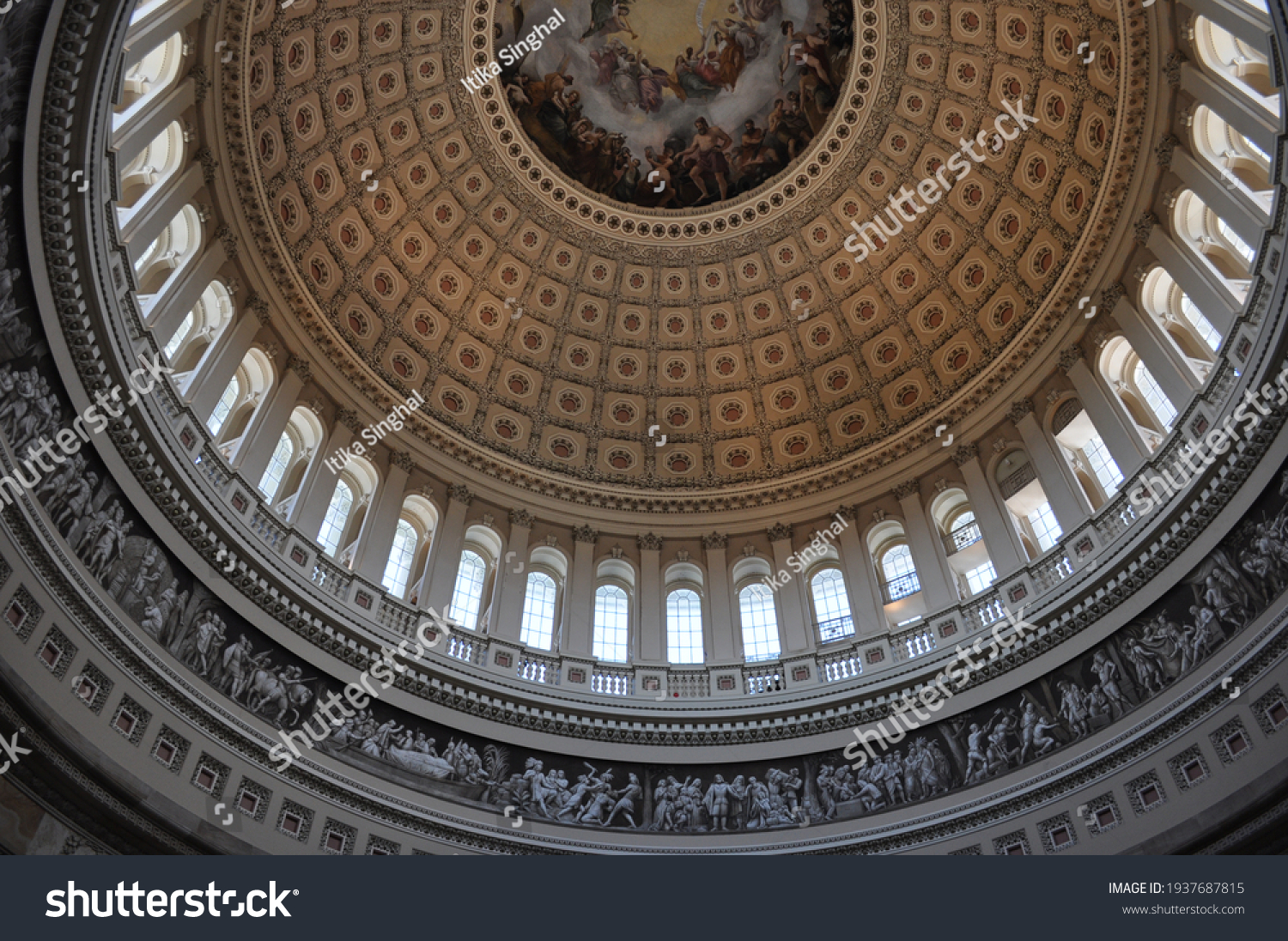 Dome of US Capitol hill situated above the rotunda of the building. Apotheosis of Washington is a fresco Constantino Brumidi. Dome has beautiful architecture and sculptures as well. #1937687815